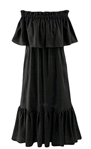 Coolred-femmes, Plus La Taille Maxi À Volants Épaule Froid Point Robe Maxi Maigre Noir