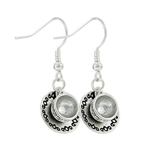 Cute Tea Cup and Saucer Silver Tone Earrings, Coffee Lover Gift, Handmade Dangle Women's Earring ()