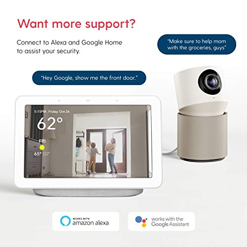 Hoop Wireless HD Indoor Pan-&-Tilt Security Camera with 5-Day Free Cloud Recording, Smart Mobile App, Night Vision, Motion & Sound Detection, 2-Way Audio, 2.4 / 5.0GHz, Works with Alexa & Google Home