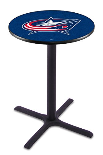 Columbus Blue Jackets Black Wrinkle Bar Table with Cross Base (Bar Columbus Patio)