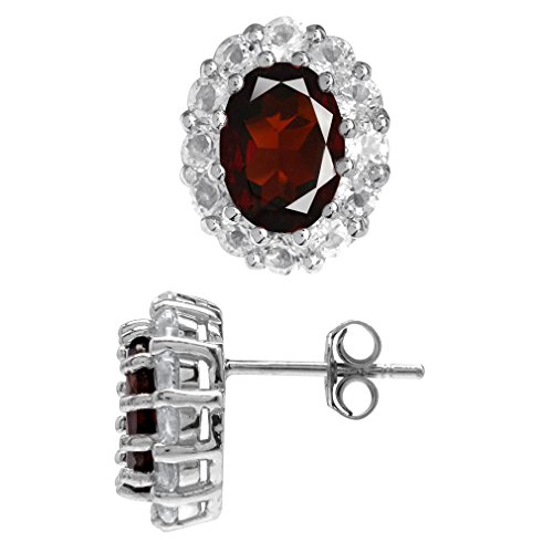 (4.14ct. Natural Garnet & Topaz White Gold Plated 925 Sterling Silver Flower Cluster Post Earrings)