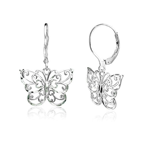 Sterling Silver Diamond-cut Filigree Butterfly Dangle Drop Leverback Earrings, One Pair Set Butterfly Sterling Silver Jewelry Set