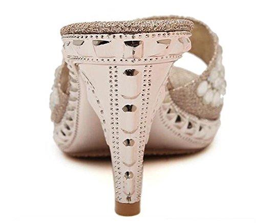 YEEY Verano sandalias de tacón alto tacones rhinestones PU artificial pie abierto para mujeres que caminan Club al aire libre Sliver