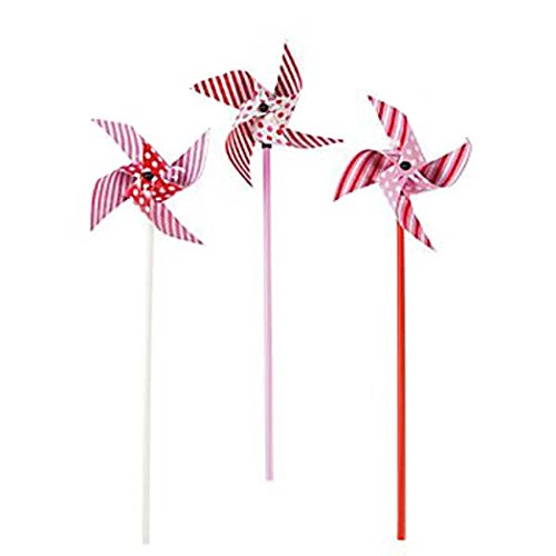 Fun Express Pink Red White Polka Dots Stripes Pinwheels (3 Dz)