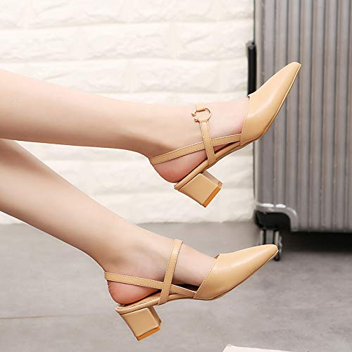 Un con de Altos Yukun Calzado tacón con Tacones Mujer Estilo zapatos alto De Apricot Versátiles Cómodos De Una Moda Hebilla con cYqwqB65