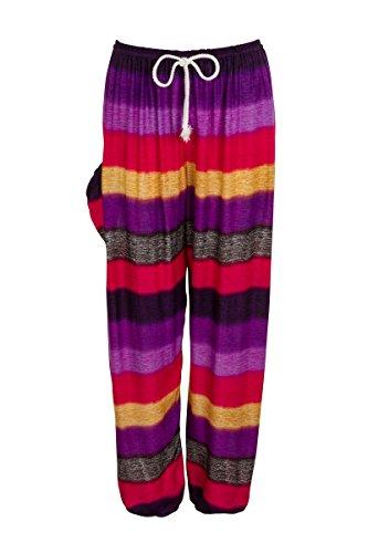 Pantalones harén–ALADDIN Hippie pantalones con cordón en la cintura Colourful Purple Red