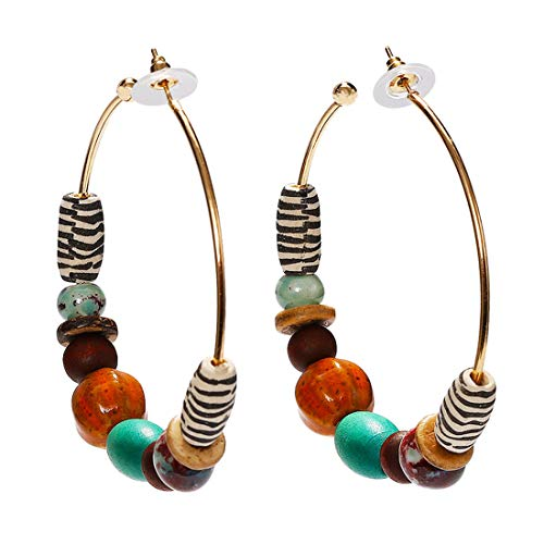 Dvacaman Statement Hoop Earrings for Women - Fashion Acrylic Natural Stone Wood Drop Earrings for Women Jewelry (Multi-Color)
