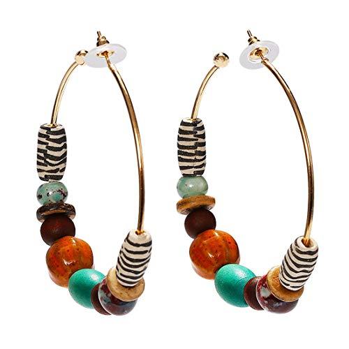(Dvacaman Statement Hoop Earrings for Women - Fashion Acrylic Natural Stone Wood Drop Earrings for Women Jewelry (Multi-Color))