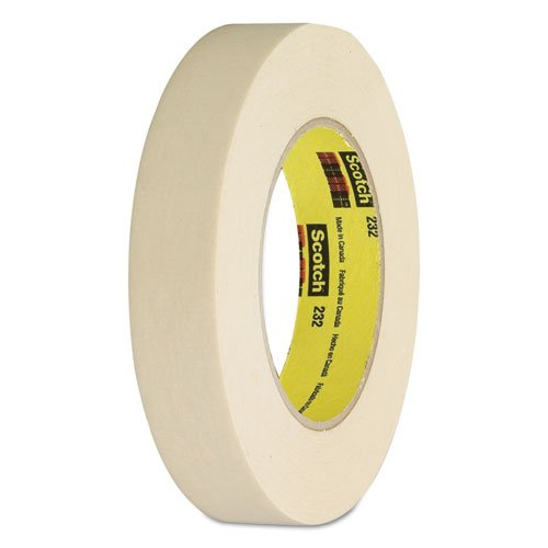 3M Scotch 232 Crepe Paper High Performance Masking Tape, 250 Degree F Performance Temperature, 27 lbs/in Tensile Strength, 1