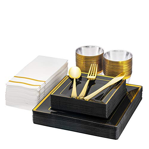 """Fete Black & Gold square Disposable Dinnerware, 25 guest, - 175 Pack Of Heavy-Duty Plastic Party - 25 Dinner Plates 10.25"""", 25 Dessert Plates 7.5"""", 25 Cups, 25 Napkins, 25 Forks, 25 Spoons, 25 Knives"""