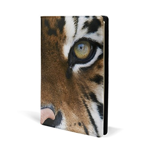 Tiger Pattern Print Book Covers, Fits Most Hardcover Textbooks up to 8.7X5.8. PU Leather School Book Protector. Easy to Put On Jacket