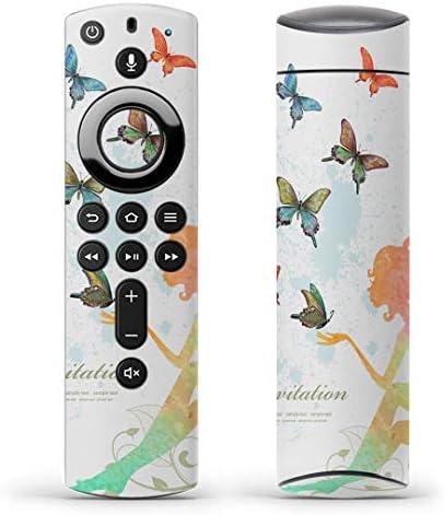 igsticker Fire TV Stick 第2世代 専用 リモコン用 全面 スキンシール フル 背面 側面 正面 ステッカー ケース 保護シール 009752 蝶 人物 カラフル