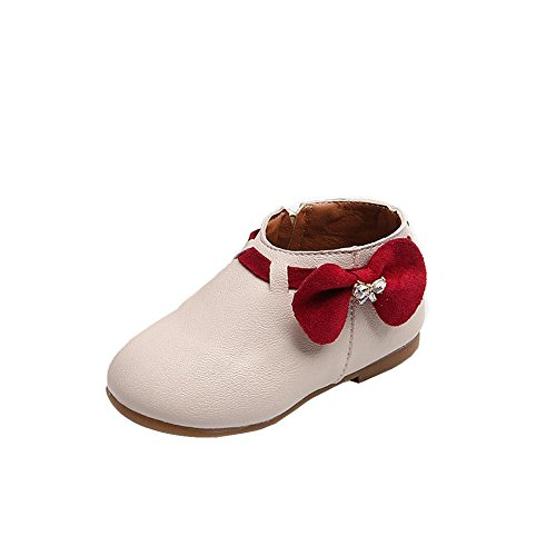 morecome Toddler Girls Fashion Bowknot Sneaker Zipper Casual Boots (Child 8.5, Beige) - Dark Beige Footwear