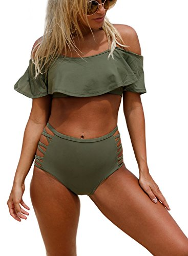 Astylish Women Off Shoulder Halter Ruffle Two Piece Swimsuit Set 14-16 Oliver - Piece Swimsuits Two