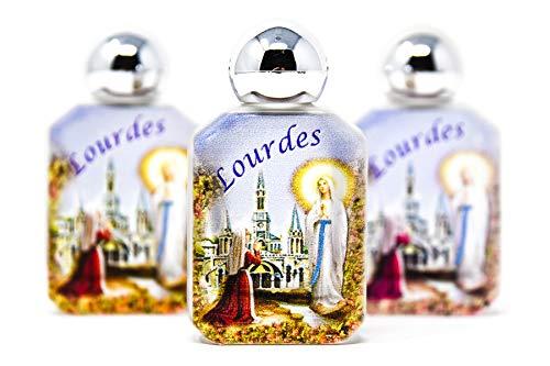 (3 Lourdes Water Bottles Filled with Blessed Lourdes HOLY Water & Lourdes Prayer Card )