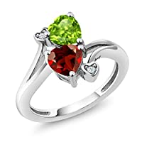 Gem Stone King 925 Sterling Silver Green Peridot and Red Garnet Women's Jewelry Ring (1.76 Ct Heart Shape, Gemstone Birthstone, Available 5,6,7,8,9)