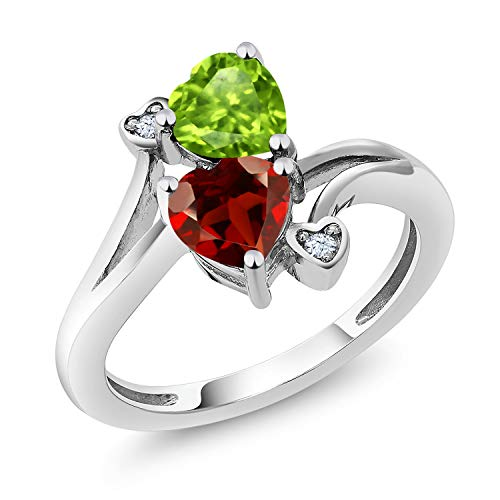1.76 Ct Heart Shape Green Peridot Red Garnet 925 Sterling Silver Ring (Size 5) -