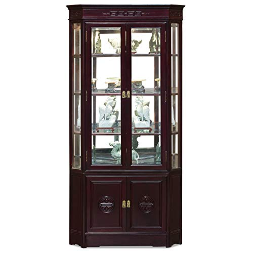 ChinaFurnitureOnline Rosewood China Cabinet, 27 Inches Hand Carved Longevity Design Corner Display Cabinet in Dark Cherry Finish