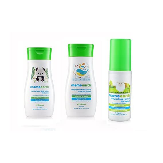 Mamaearth Holi Gift Pack for Baby Nourishing Baby Hair Oil + Daily Moisturizing Lotion + Deeply Nourishing Body Wash