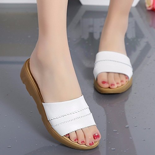 Casual Estate Primavera ZHZNVX a White Bianco Nero Comfort Tacco sandali cuneo per donna Beige similpelle Scarpe fpWpR