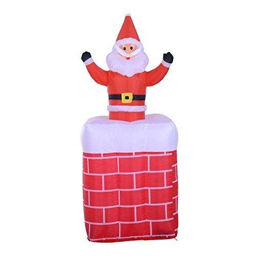 - HomCom 6' Tall Outdoor Animated Airblown Inflatable Christmas Lawn Decoration - Santa in a Chimney