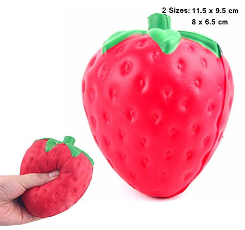 2 Pack Elecrainbow Slow Recovery Strawberry Toy   Fidget  Anxiety  Sensory  Autism Stress Reliever Toy   Red In 2 Sizes