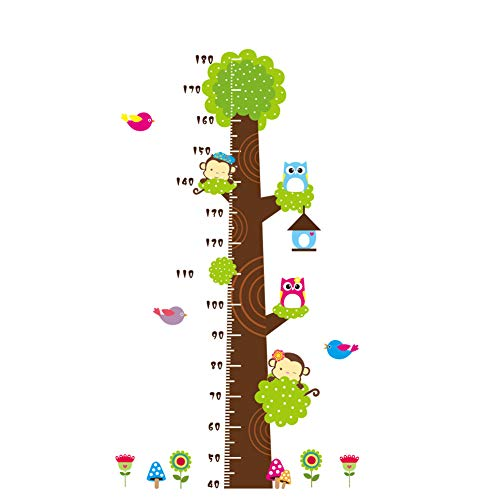 Height Measurement Growth Chart Tree Cute Monkey and Owls Wall Vinly Decal Decor Sticker Removable Super for Nursery Playroom Girls and Boys Children's Bedroom (Show Me A Ruler With Inches And Centimeters)