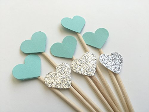 Robin Egg Blue and Silver Glitter MINI Heart Cupcake Topper. Handmade Party Decorations. 25CT -