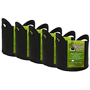 Smart Pot Soft Sided Fabric Garden Plant Container Aeration Planter Pots, 10 gallon with Cut Handles, Black, 5 Pack