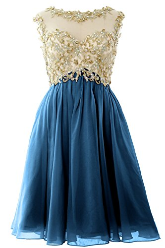 MACloth Women Cap Sleeve Gold Lace Chiffon Short Prom Homecoming Dress Ball Gown Teal