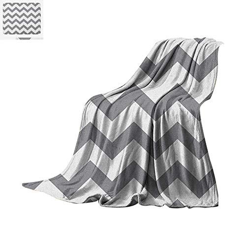 rey and White Chevron Pattern Classic Geometrical Horizontal Zig Zag Stripes Retro Warm Microfiber All Season Blanket for Bed or Couch 80