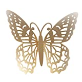 Cyhulu Butterfly Gold Sliver Color Wall Decals(Pack of 12Pcs), Beautiful Bright Real Looking Butterfly Stickers Ornaments for Living Room Bedroom Party Weeding Home DIY Art Decor (C, One size)