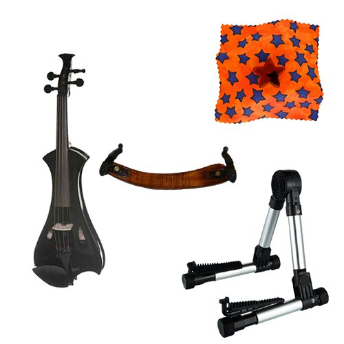 Meisel Electric Violin Pack Black w/Silver Stand, Tuner & Star Rosin
