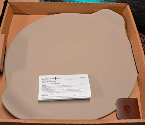 (PAMPERED CHEF LARGE ROUND PIZZA STONE W/HANDELS #1371)