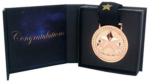 Silvery Star (Bronze Star Award Medal for 3rd Place Recognition, Star Decorated Ribbon and Black Gift Box with Magnetic Closure is Included with Every Medal)