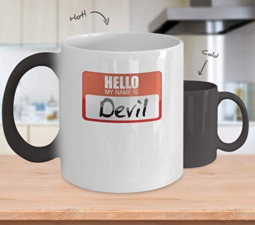 Ceramic Coffee Mug My Name Is Devil Gift Simple Funny Halloween Costume Idea Novelty Kitchen Mug Motivational Cup Gifts 11OZ -