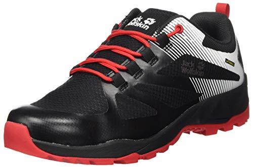 Zapatos de montaña Jack Wolfskin para hombre, negro rojo, 11