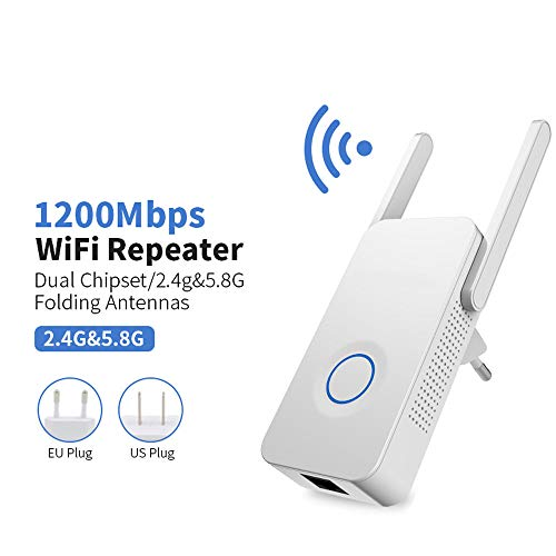 Wifi Range Extender, Powerful Dual Band 1200Mbps Wifi Extender Internet Signal Repeater Wireless 2.4Ghz Repeater 2.4Ghz Wifi Range Antenna Extender ()