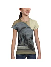Girls Short Sleeve Black Labrabor T-Shirts, Fashion Blouse Clothes, XS-XL