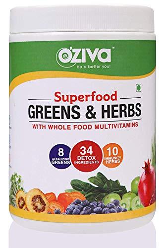OZiva Superfood Greens & Herbs (Supergreens Powder with Alkalizing Greens & Herbs like Chollera, Spirulina, Amla…