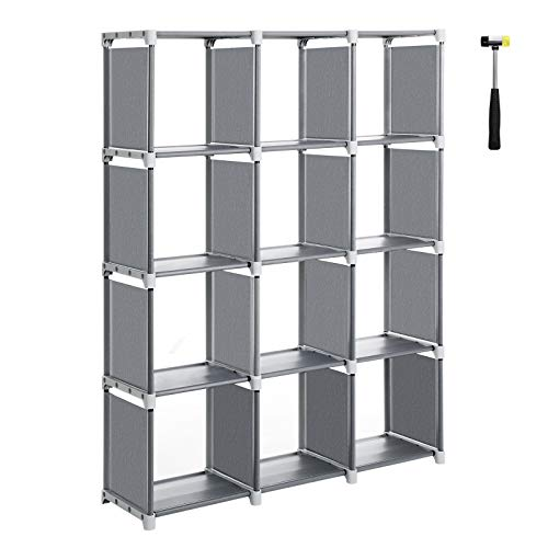 SONGMICS Cube Storage, 12-Cube Bookcase, Closet Organizer, Storage Shelf in Living Room, Kid's Room, 41.3 x 11.8 x 55.1 Inches, Bonus Rubber Mallet, Gray ULSN12GY