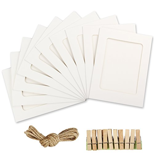 Yilove 4x6 Paper Picture Frames, DIY Cardboard Photo Frame with Clips and String, White