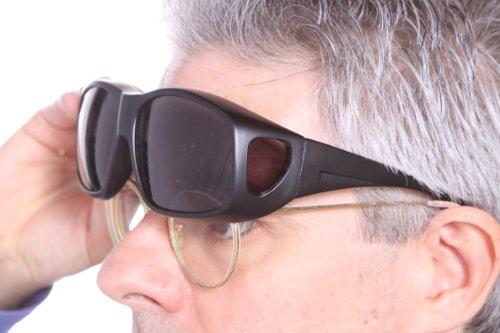 71aa7238e4506 LensCovers Wear Over Prescription Glasses Sunglasses for Men and Women  Large Size (BLACK) Polarized
