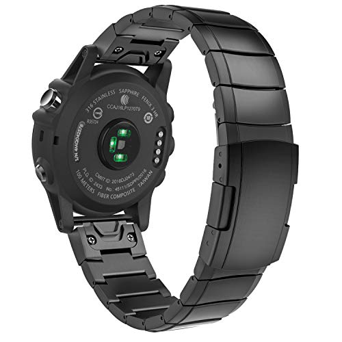 MoKo Quickfit 26 Watch Band Compatible with Garmin Fenix 3/Fenix 3 HR/Fenix 5X/Fenix 5X Plus/Fenix 6X/Fenix 6X Pro/Descent Mk1/Mk2/Mk2i/D2 Delta PX,Stainless Steel Replacement Strap, Black