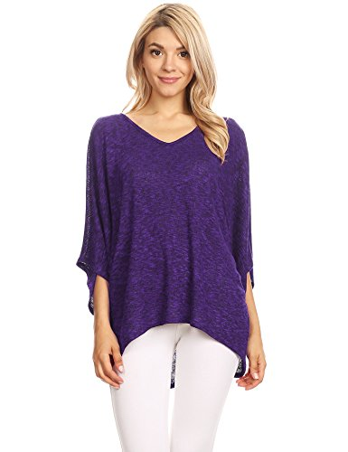 WT1757 Womens Lightweight Batwing Sleeve Oversized Knit Top - Made in USA M Purple_Black