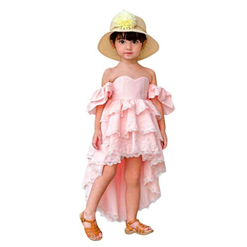 Tiered Dresses Toddler Girls Lace Off Shoulder Tube Top Ruffle High Low Hem Party Wedding Pageant Princess Dress (Pink, 6-7 Years)