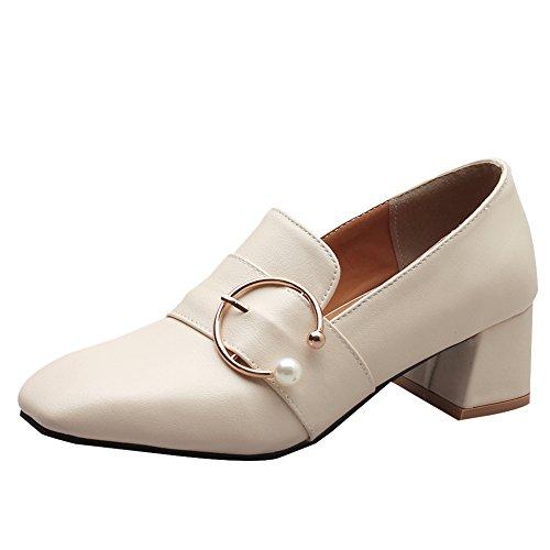 Shoes On Latasa Latasa Womens Chunky Toe Slip Womens Beige Square qFgHq