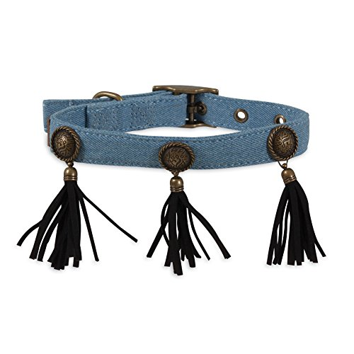 MuttNation Fueled by Miranda Lambert Denim Concho & Fringe Custom Fit Dog Collar, Blue (Custom Conchos)