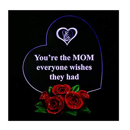 Heart Shaped LED Light on Rose Base Mother Gifts You're The MOM Everyone Wishes They had
