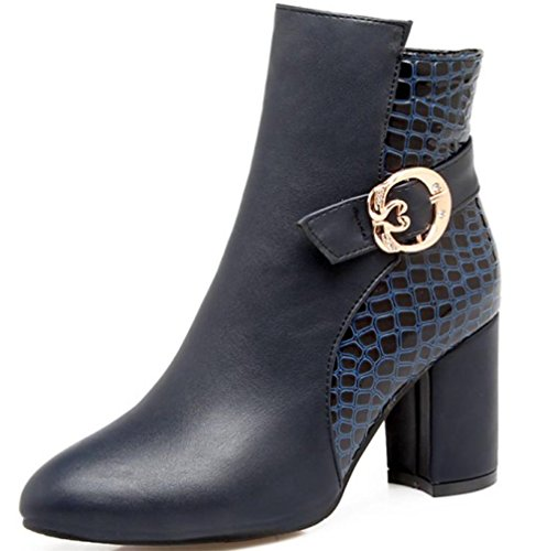 Winter Boots NVXIE PU High Artificial Blue Round BLUE Black head Short Heel Rough Party EUR42UK85 Work Womens Fall rxIEwIO